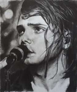 Chalk portrait of a singer